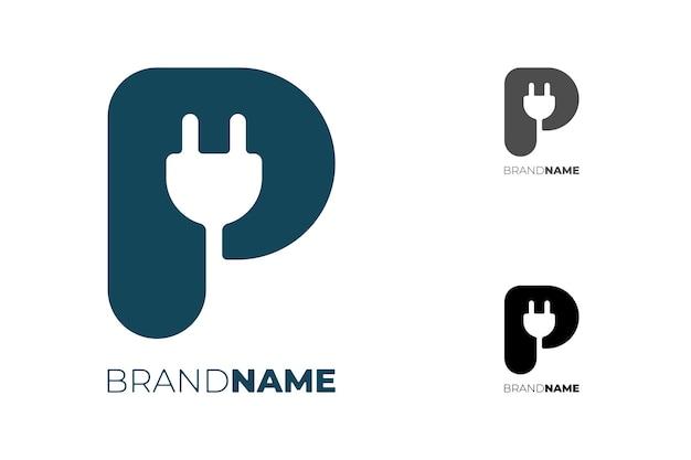 Lettera iniziale p con spina elettrica per il concetto di logotipo di identità aziendale tecnologica auto elettrica