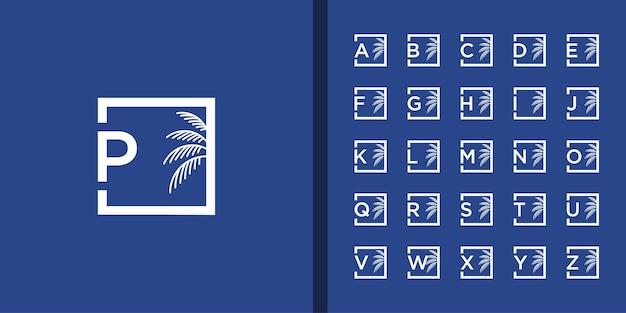 Lettera iniziale e set logo albero di palma