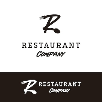 Lettera iniziale r con cucchiaio forchetta per il design del logo del ristorante