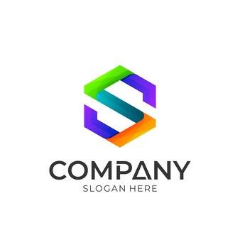Logo iniziale lettera s in forma esagonale