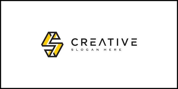 Stile della linea di disegno vettoriale del logo della lettera iniziale s