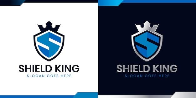 Scudo con lettera iniziale s con icona a forma di corona per il design del logo secure safe secret strong