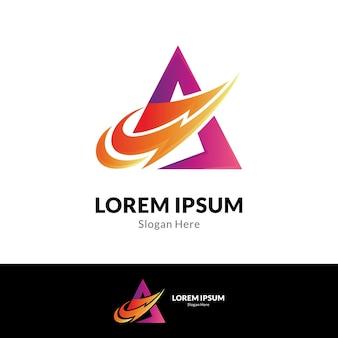 Lettera iniziale a e modello di logo di tuono