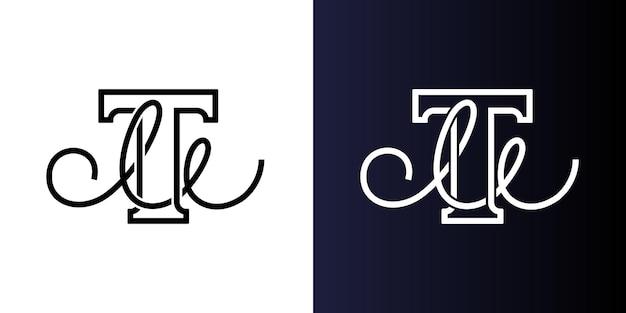 Lettera iniziale tm o mt nome dell'azienda design grassetto serif t e scrittura a mano m monogramma di identità aziendale