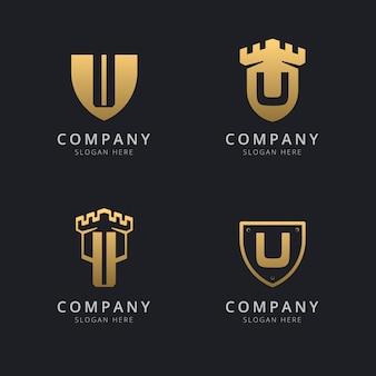 Lettera iniziale u e scudo con stile dorato