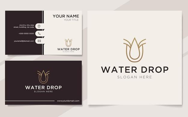 Lettera iniziale u con logo dell'elemento goccia d'acqua e modello di biglietto da visita