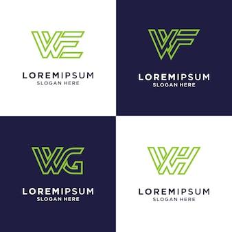 Lettera iniziale w logo di ispirazione per il marchio e il business