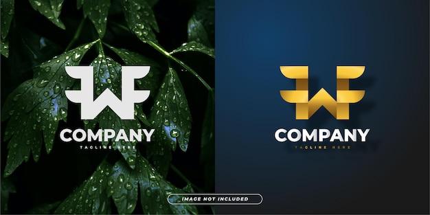 Lettera iniziale w logo con ali per loghi aziendali o tecnologici