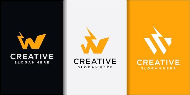 Lettera iniziale w con thunder logo design. logo della lettera w con combinazione di design del tuono