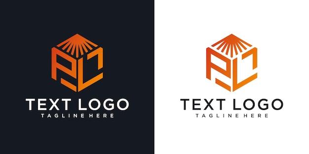 Modello di progettazione del logo del monogramma di lusso della lettera dell'icona lp iniziale