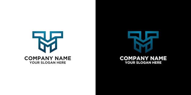 Iniziale m nel modello di design del logo blu vettore premium