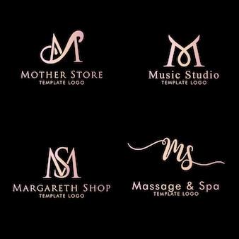 Modello di testo modificabile femminile iniziale con logo m.