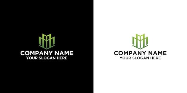Iniziale m nel modello di design del logo immobiliare vettore premium