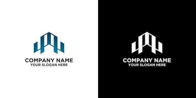 Modello di design logo m e w iniziale vettore premium
