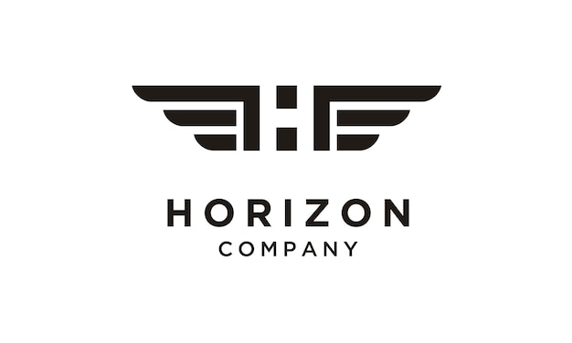 Iniziale / monogram h con logo wings