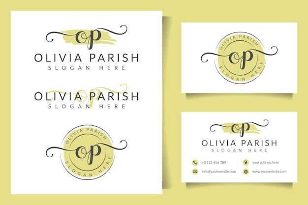 Collezioni di logo femminili op iniziali con modello di biglietto da visita