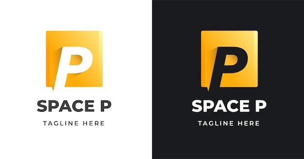 Modello di progettazione di logo di lettera p iniziale con forma quadrata