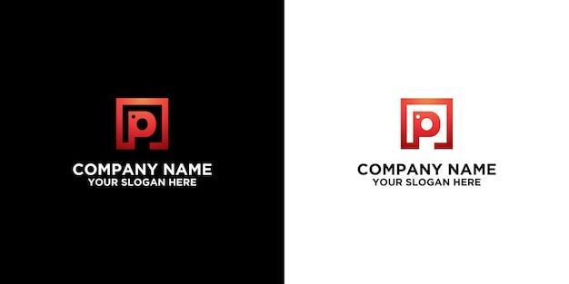 P iniziale nel modello di design del logo quadrato vettore premium