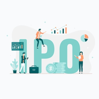 Concetto di illustrazione dell'offerta pubblica iniziale (ipo). illustrazione per siti web, pagine di destinazione, applicazioni mobili, poster e banner.