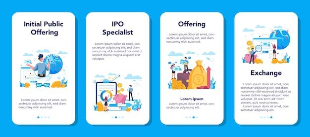 Set di banner per applicazioni mobili specialista di offerte pubbliche iniziali