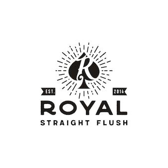 Iniziale r per royal flush spade poker game card logo retrò vintage