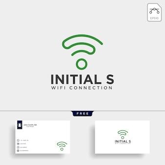 Logo di comunicazione wifi s iniziale