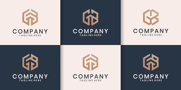 Set iniziale di ispirazione per il design del logo gb