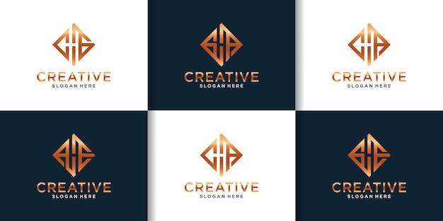 Set iniziale di ispirazione per il design del logo hg
