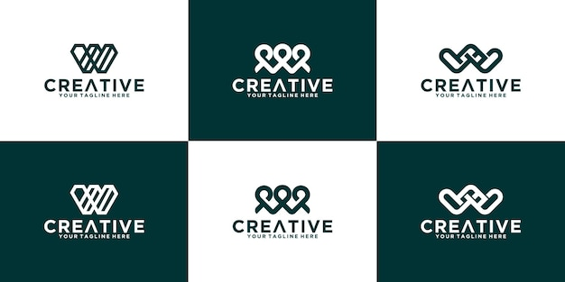Set iniziale di lettere w logo design