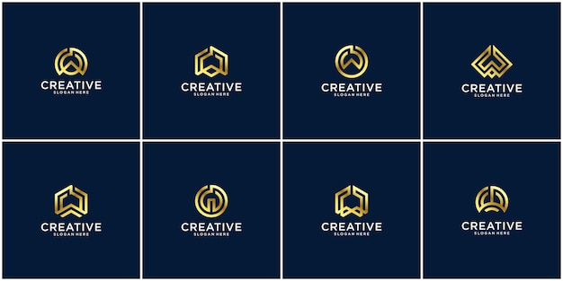 Set iniziale di design del logo w.
