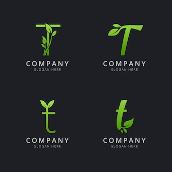 Logo iniziale a t con elementi foglia in colore verde
