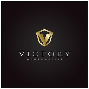 Logo iniziale v emblem dell'automobile con effetto a piastra metallica 3d gold silver Vettore Premium