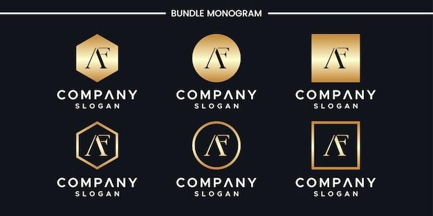 Modello di progettazione di logo di iniziali af.