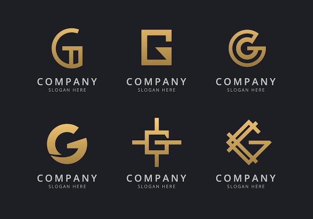 Modello di logo g iniziale con un colore dorato per l'azienda