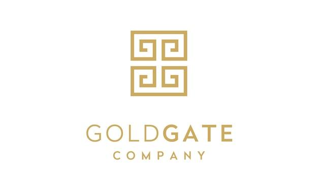 Iniziali gg con logo ornamento di confine cornice asiatica / greca