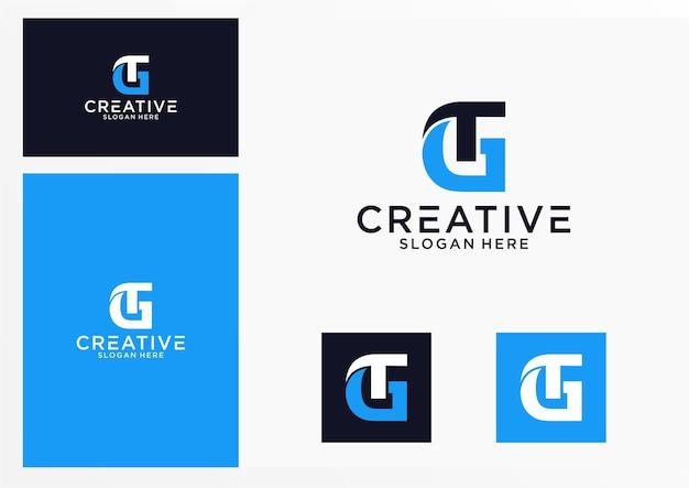 Iniziali gt logo design grafico per altri usi è perfetto