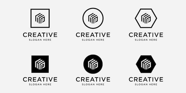 Iniziali hp logo design template