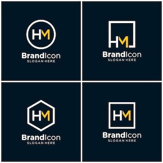 Modello di progettazione del logo hm iniziali