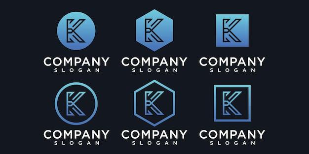 Modello di progettazione di logo dell'icona di iniziali k