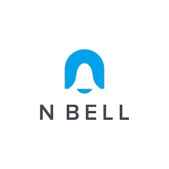 Iniziali lettera n con notifica a campana semplice elegante design geometrico creativo moderno logo