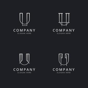 Modello di logo monogramma linea u iniziale con colore argento per l'azienda