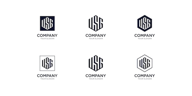 Modello di progettazione logo usg iniziali