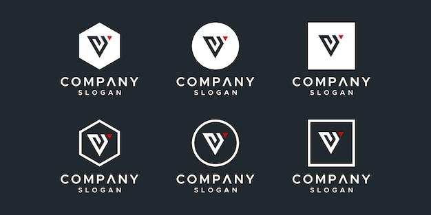Modello di progettazione del logo vy iniziali. Vettore Premium