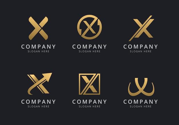 Modello di logo x iniziale con un colore dorato per l'azienda
