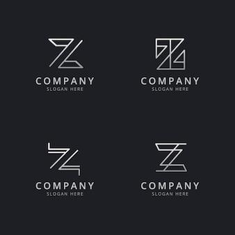 Modello di logo monogramma iniziale linea z con colore argento per l'azienda