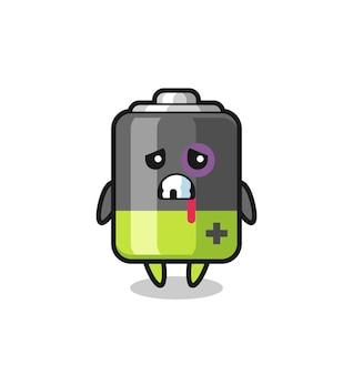 Personaggio della batteria ferito con una faccia contusa, design in stile carino per maglietta, adesivo, elemento logo