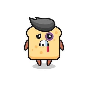 Personaggio di pane ferito con una faccia contusa, design in stile carino per maglietta, adesivo, elemento logo