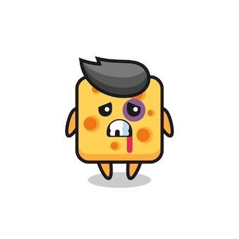 Personaggio di formaggio ferito con una faccia contusa, design in stile carino per maglietta, adesivo, elemento logo