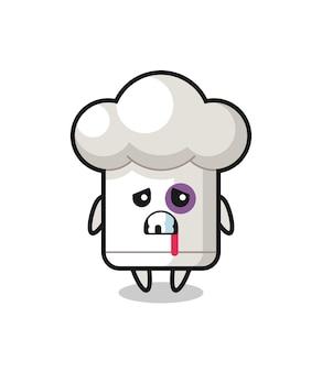 Personaggio del cappello da chef ferito con una faccia contusa, design in stile carino per maglietta, adesivo, elemento logo