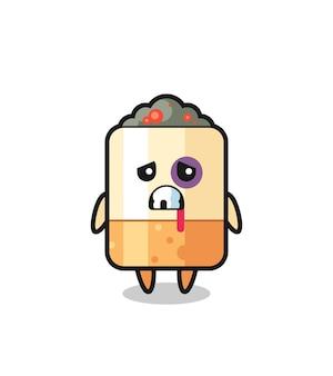 Personaggio di sigaretta ferito con una faccia contusa, design carino